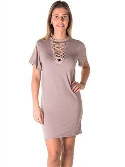 Ladies Knit Bodycon V Neck Lace Up Midi Dress