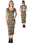 Ladies Camo Print Shredded Back Midi Dress