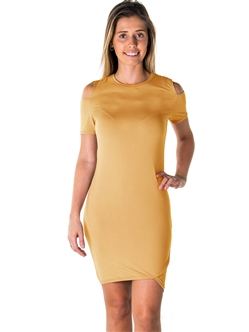 Ladies Casual Cold Shoulder with Side Slit Mini Dress / 1-2-2-1 *available in color Mustard, Mauve, Burgundy*