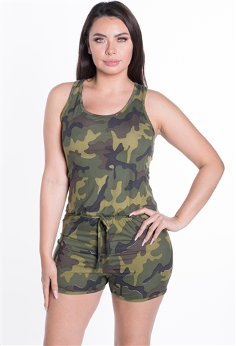 Ladies Racer Back Camouflage Romper Shorts / 1-2-2-1