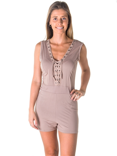Ladies Casual Lace Up V Neck Knit Romper Shorts