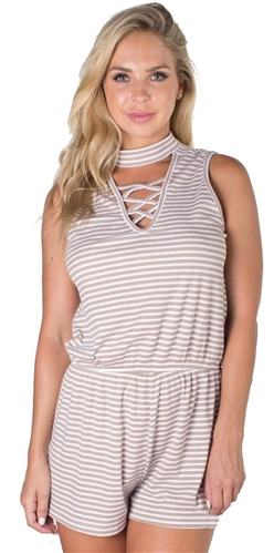 Ladies Ribbed Choker Style Romper