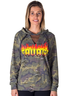 Ladies Mesh Hoody Sweatshirt Distress Tops with Applique