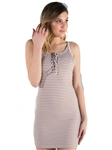 Ladies Ribbed Lace Up Bodycon Mini Dress