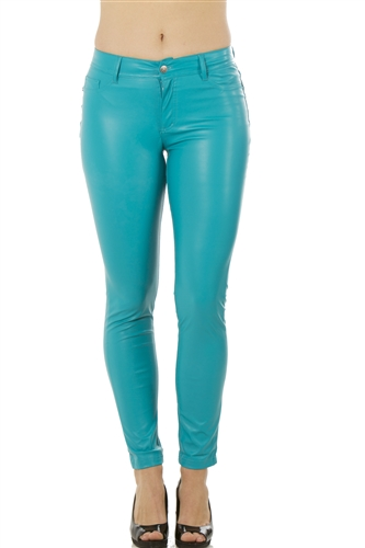 Ladies PU Legging Pants with Two Pockets