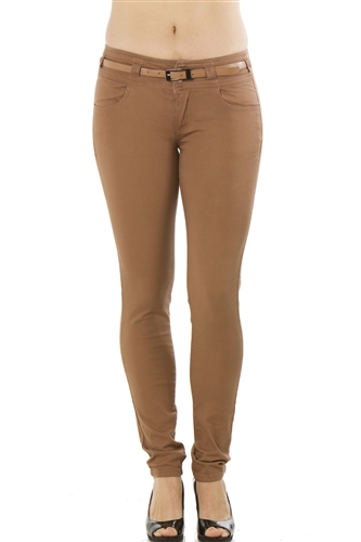 Ladies Stretch Twill Belted Pants with Four Pockets
