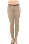 Ladies Stretch Twill Belted Pants with Five Pockets
