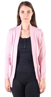 Ladies Ribbed Shawl Open Front Cardigan