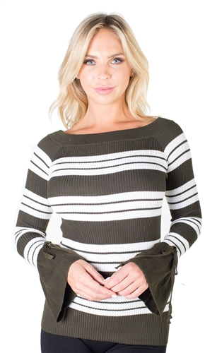 Ladies Rib Sweater Top Boat Neck By Special One