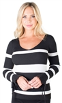 Ladies Plus Size Ribbed Striped V-Neck Sweater Top with Bell Sleeves By Special One