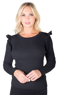 Ladies Rib Sweater Top Ruffle Sleeve By Special One