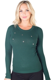 Ladies Ribbed Sweater with Small Metal Rings By Special One