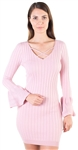 Ladies Ribbed Bodycon Bell Sleeved Sweater  Dress with Crisscross Neckline By Special One