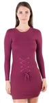 Ladies Bodycon  Long Sleeve Sweater  Dress with Corset Style Tie Up Front By Special One