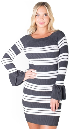 Ladies Bodycon Boat Neck Rib Long Sleeve Sweater Dress By Special One