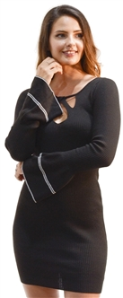 Black-Ladies Bodycon Criss Cross Neck with Bell Sleeves Sweater Dress By Special One