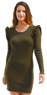 Ladies Bodycon Ruffle Shoulder Rib Long Sleeve Sweater Dress By Special One