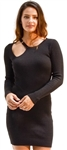 Ladies Bodycon Asymmetric Neck Line with Buckle Ribbed Long Sleeve Sweater Dress By Special One