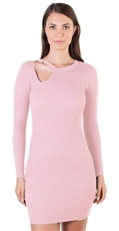 Ladies Bodycon Asymmetric Neck Line with Ring Buckle Ribbed Long Sleeve Sweater Dress By Special One