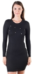 Ladies Bodycon  Long Sleeve Sweater  Dress with Small Metal Rings By Special One