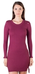 Ladies Bodycon Lace Up Side and Shoulder Ribbed Long Sleeve Sweater Dress with Ruffle Trim on Sleeves  By Special One