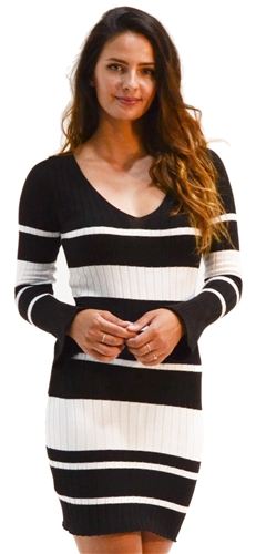 Ladies Bodycon V Neck Rib Long Sleeve Sweater Dress with Bell Sleeves By Special One