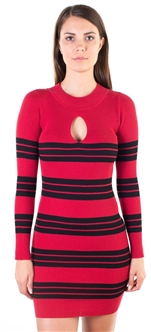 Ladies Bodycon Long Sleeve Sweater Dress with Mock Neck Keyhole Design