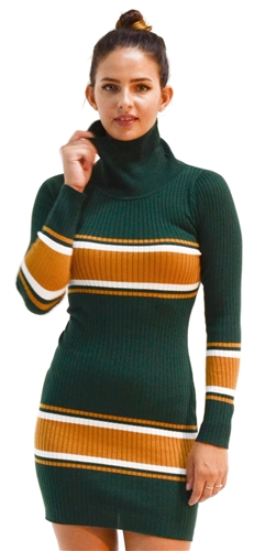 Ladies Bodycon Turtle Neck Rib Long Sleeve Sweater Dress