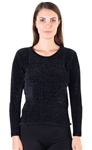 Ladies Chenille Crew Neck Sweater with Ribbed Trim