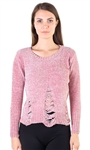 Ladies Tattered Chenille Sweater