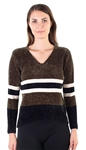 Ladies Striped V Neck Chenille Sweater