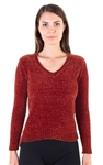 Ladies Chenille V Neck Sweater