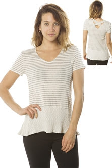 Ladies Short Sleeve V Neck Top