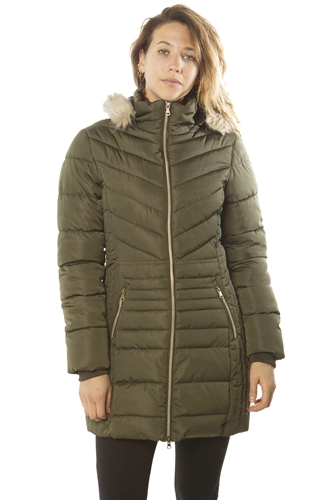 Ladies Faux Fur Lined Long Jacket, Zip Up, Detachable Hood, w/ 2 Front Pocket