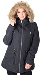 Ladies Faux Fur Lined Brushed Peach Jacket w/ Detachable Hood, 2 Front Pockets & Waistband Draw String