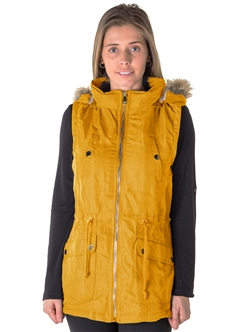 Ladies Faux Fur Lined Brushed Peach Vest w/ Detachable Hood, 2 Front Pockets & Waistband Draw String