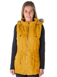 Ladies Plus Size Faux Fur Lined Brushed Peach Vest w/ Detachable Hood, 2 Front Pockets & Waistband Draw String