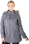 Ladies Plus Size Peach Skin Parka w/ Faux Fur Lining, Detachable Hood and Waistband Draw String