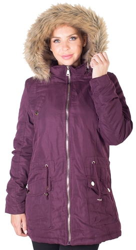 Ladies Peach Skin Parka w/ Faux Fur Lining, Detachable Hood and Waistband Draw String