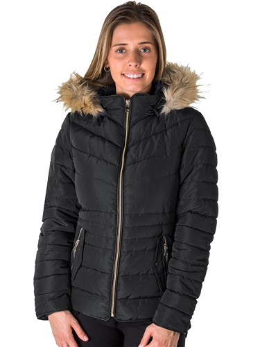 Ladies Faux Fur Lined Jacket w/ Detachable Hood, Elastic Side, Zip Up & 2 Front Pockets