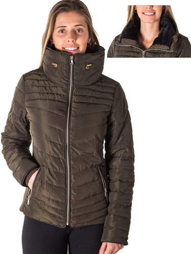 Ladies Faux Fur Lined Liz Jacket w/ High Collar, Zip Up, PU Piping & zip Front Pockets