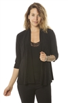 Ladies Petite 3/4 Sleeve Solid Open Front Cardigan