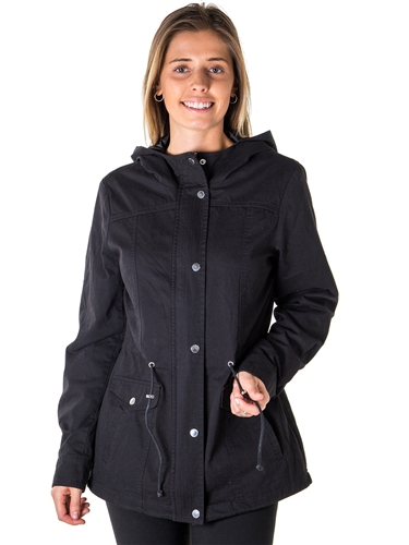 Ladies Zip Up Anorak Hooded Jacket, Roll Up Sleeve, Waistband String, 2 Front Pockets & Piping Front and back By Special One