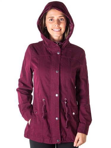 Ladies Plus Size Zip Up Anorak Hooded Jacket, Roll Up Sleeve, Waistband String, 2 Front Pockets & Piping Front and back By Special One