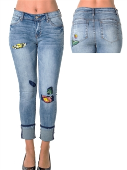 Ladies Denim Capri with Patches and Pocket Embroidered