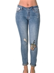 Ladies Denim Distress Embroidered Capri Pants with Pockets