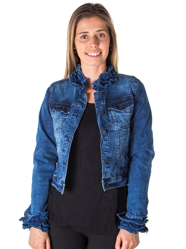 Ladies Cropped Ruffled Denim Jacket