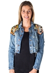 Ladies Cropped, Distress, Embroidered, Tiger Denim Jacket