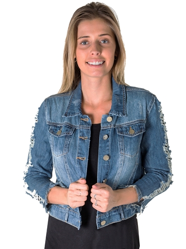 Ladies Cropped, Distress, Embroidered Denim Jacket