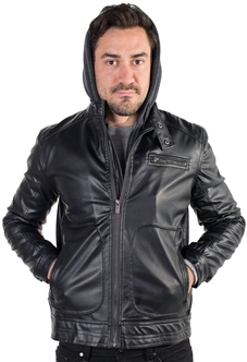 Men's Faux Leather Jacket with Hoodie